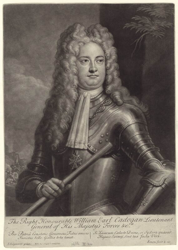 William Cadogan, 1st Earl Cadogan, by John Simon, after  Louis Laguerre, early 18th century - NPG D27525 - © National Portrait Gallery, London