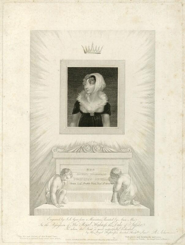 Princess Amelia, by John Samuel Agar, published by  Rudolph Ackermann, after  Anne Mee (née Foldsone), published 1810 - NPG D33324 - © National Portrait Gallery, London