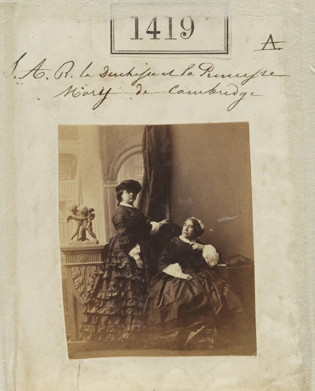 Princess Mary Adelaide, Duchess of Teck; Princess Augusta Wilhelmina Louisa, Duchess of Cambridge, by Camille Silvy, 9 October 1860 - NPG Ax50820 - © National Portrait Gallery, London