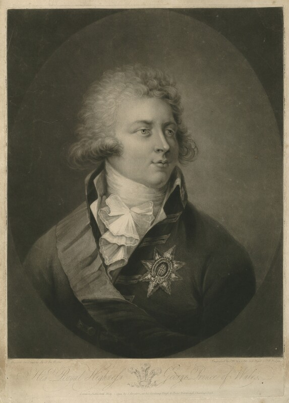 King George IV, by Samuel William Reynolds, published by  John Brydon, after  Simon de Koster, published 1 May 1794 - NPG D33330 - © National Portrait Gallery, London