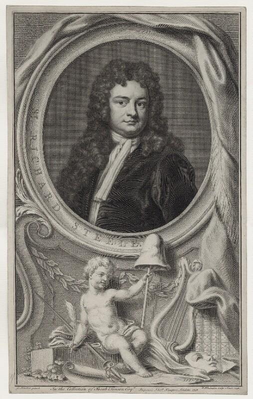 Sir Richard Steele, by Jacobus Houbraken, published by  John & Paul Knapton, after  Sir Godfrey Kneller, Bt, published 1748 - NPG D27587 - © National Portrait Gallery, London