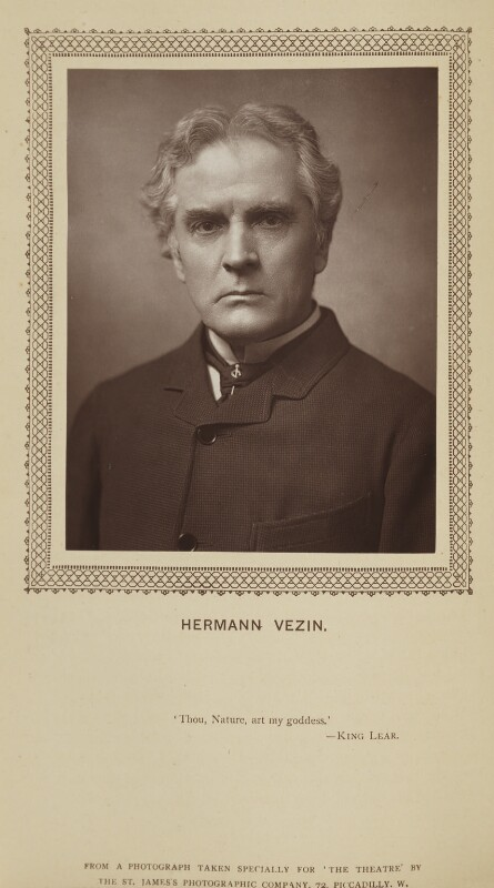 Hermann Vezin, by St James's Photographic Co, published by  David Bogue, published 2 July 1883 - NPG Ax9274 - © National Portrait Gallery, London