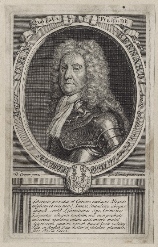 John Bernardi, by Gerard Vandergucht, after  William Cooper, published 1729 - NPG D27595 - © National Portrait Gallery, London