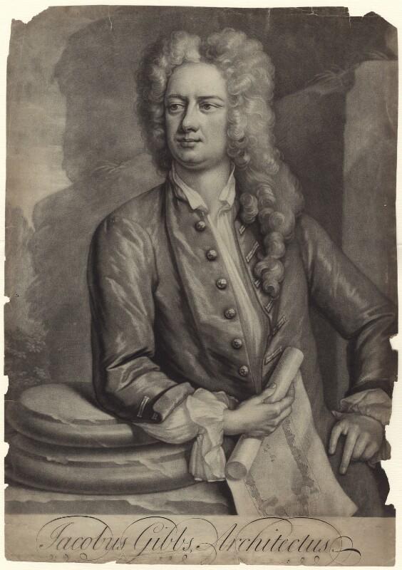 James Gibbs, by Peter Pelham, after  Hans Hysing, 1720s-1740s - NPG D27615 - © National Portrait Gallery, London