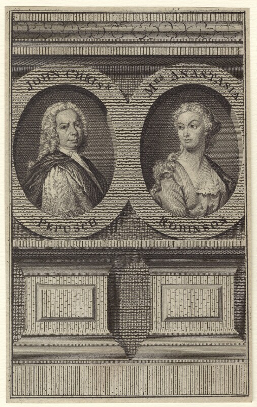 Johann Christoph Pepusch and Anastasia Mordaunt (née Robinson), Countess of Peterborough, after Thomas Hudson, mid 18th century - NPG D27617 - © National Portrait Gallery, London