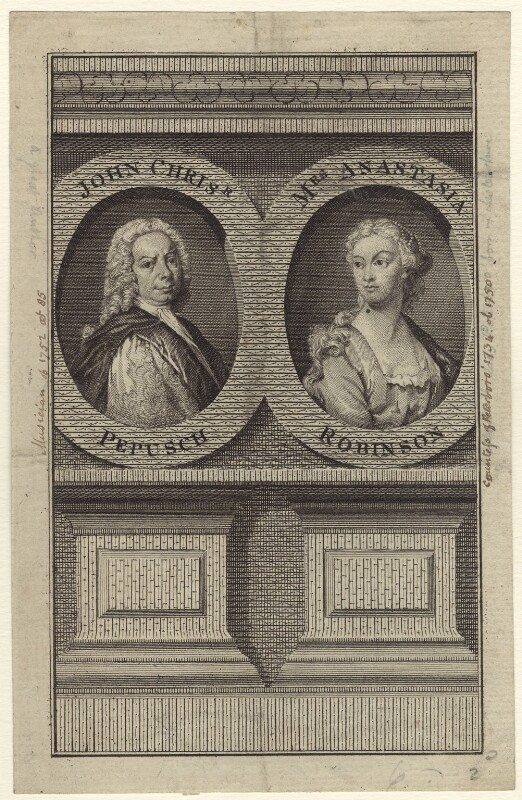 Johann Christoph Pepusch and Anastasia Mordaunt (née Robinson), Countess of Peterborough, after Thomas Hudson, mid 18th century - NPG D27618 - © National Portrait Gallery, London