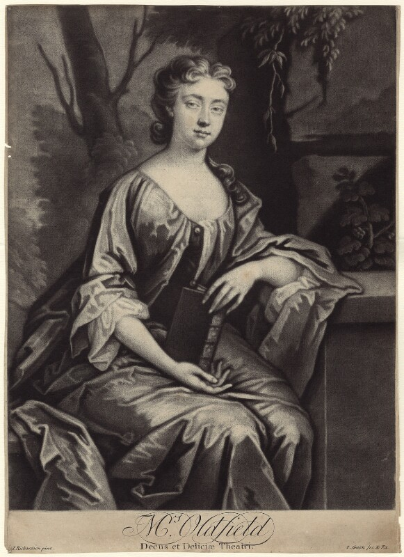 Anne Oldfield, by John Simon, after  Jonathan Richardson, circa 1700-1725 - NPG D27620 - © National Portrait Gallery, London
