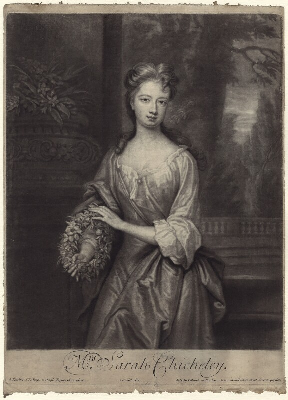Sarah Plowden (née Chicheley), by and published by John Smith, after  Sir Godfrey Kneller, Bt, 1701 - NPG D27638 - © National Portrait Gallery, London