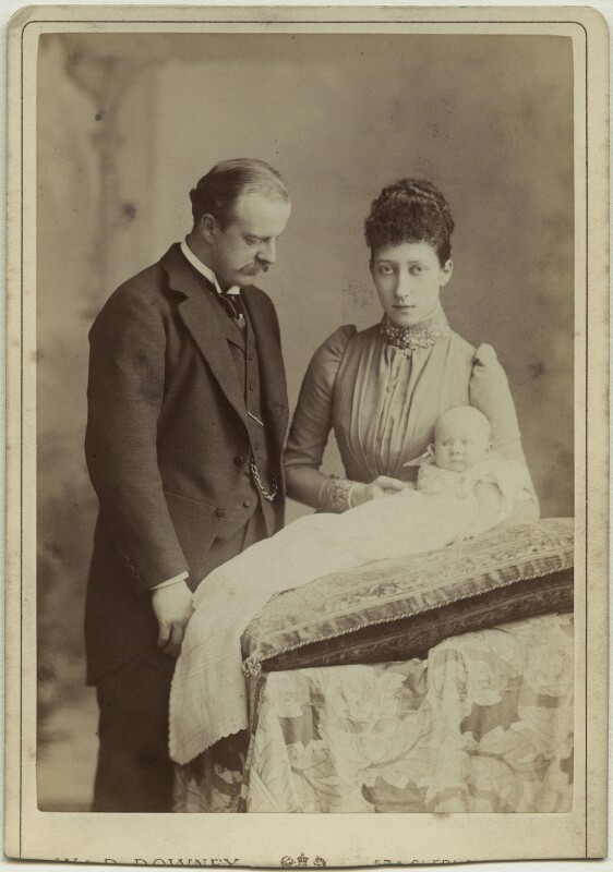 The Duke and Duchess of Fife with their daughter, Princess Maud, by W. & D. Downey, 1893 - NPG x29772 - © National Portrait Gallery, London