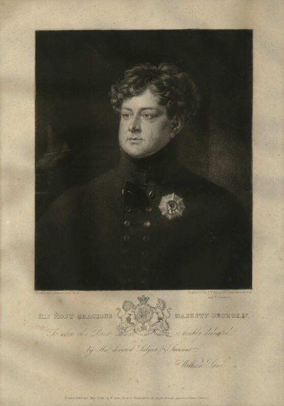 King George IV, by Samuel William Reynolds, and by  Samuel Cousins, published by  William Sams, after  John Jackson, published 1826 - NPG D33337 - © National Portrait Gallery, London