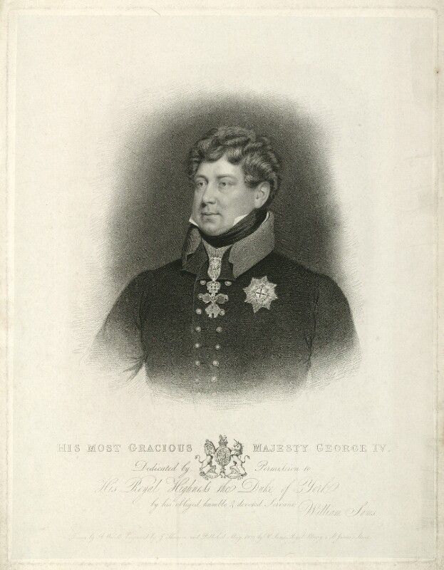 King George IV, by James Thomson (Thompson), published by  William Sams, after  Abraham Wivell, published 1823 - NPG D33339 - © National Portrait Gallery, London
