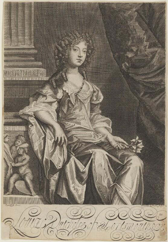 Louise de Kéroualle, Duchess of Portsmouth, by Edward Davis (Le Davis), after  Sir Peter Lely, circa 1678 - NPG D9283 - © National Portrait Gallery, London