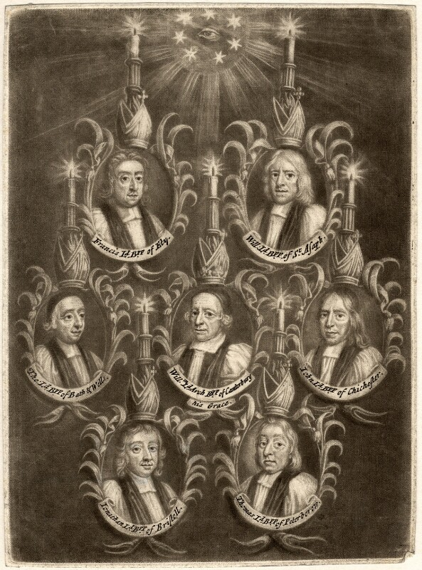 The Seven Bishops Committed to the Tower in 1688, possibly published by John Smith, by  Unknown artist, 1688 - NPG D9284 - © National Portrait Gallery, London