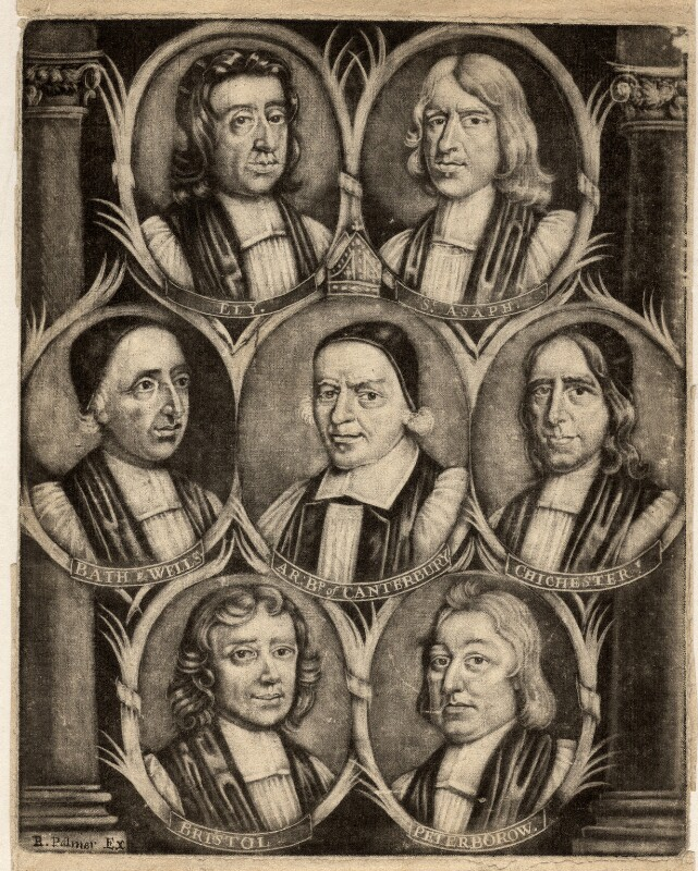 The Seven Bishops Committed to the Tower in 1688, published by R. Palmer, after  Unknown artist, (circa 1688) - NPG D9285 - © National Portrait Gallery, London