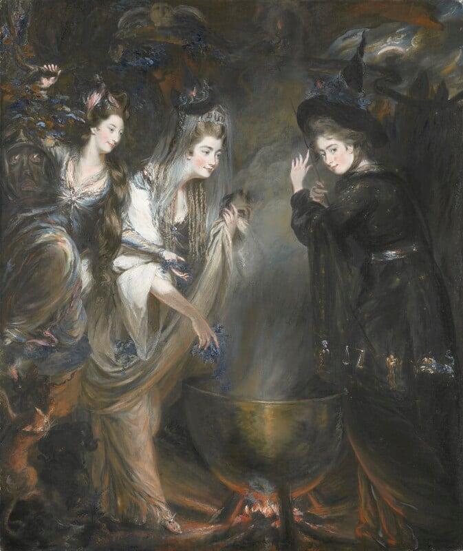 The Three Witches from Macbeth (Elizabeth Lamb, Viscountess Melbourne; Georgiana, Duchess of Devonshire; Anne Seymour Damer), by Daniel Gardner, 1775 - NPG 6903 - © National Portrait Gallery, London