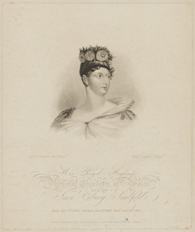 Princess Charlotte Augusta of Wales, by Robert Cooper, published by  Rudolph Ackermann, after  Alfred Edward Chalon, published 4 June 1816 - NPG D33513 - © National Portrait Gallery, London