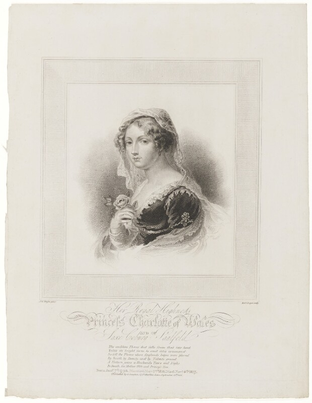 Princess Charlotte Augusta of Wales, by Robert Cooper, published by  George Smeeton, after  John Massey Wright, published 12 September 1818 - NPG D33519 - © National Portrait Gallery, London