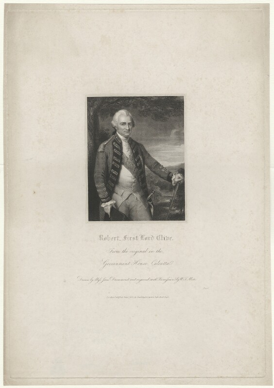Robert Clive, 1st Baron Clive, by W.T. Mote, after  Miss Jane Drummond, after  Nathaniel Dance (later Sir Nathaniel Holland, Bt), published 1833 - NPG D33529 - © National Portrait Gallery, London