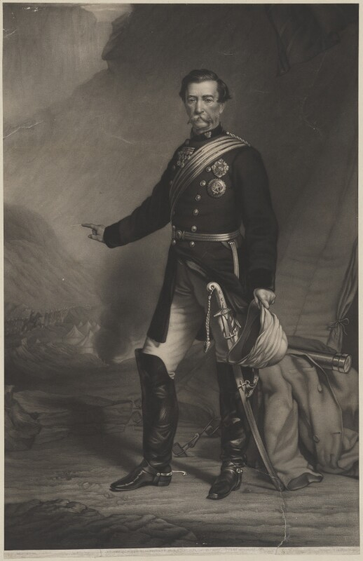 Robert Cornelis Napier, 1st Baron Napier of Magdala, by Charles Algernon Tomkins, published by  T.W. Green, after  Charles Mercier, published 3 May 1869 - NPG D33541 - © National Portrait Gallery, London