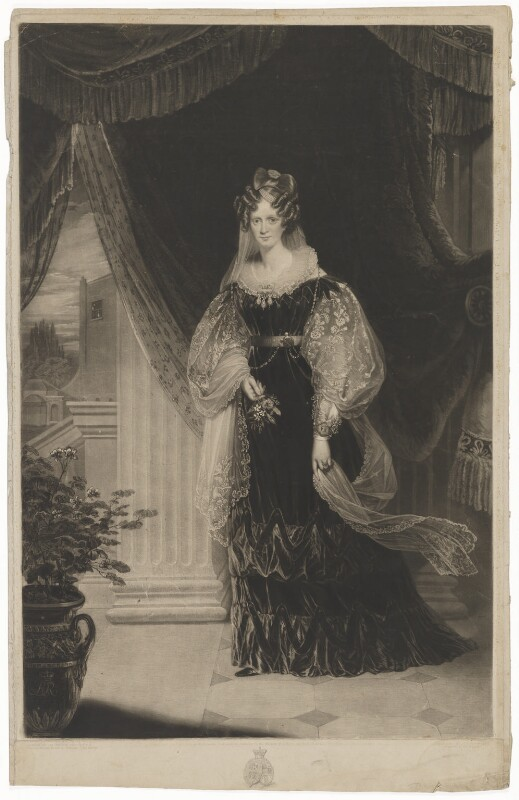 Queen Adelaide (Princess Adelaide of Saxe-Meiningen), by Samuel William Reynolds, published by  Martin Colnaghi, after  Sir William Beechey, published September 1831 - NPG D33559 - © National Portrait Gallery, London