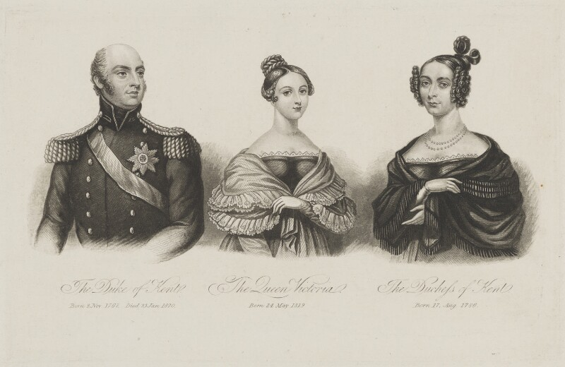 Prince Edward, Duke of Kent and Strathearn; Queen Victoria; Princess Victoria, Duchess of Kent and Strathearn, after Unknown artist, late 1830s - NPG D33560 - © National Portrait Gallery, London