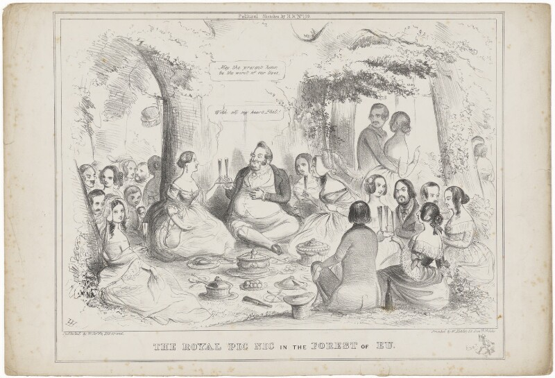 'The Royal Pic Nic in the Forest of Eu' (group including Queen Victoria; Louis-Philippe I; Prince Albert of Saxe-Coburg-Gotha), by H.H., published by  W. Soffe, circa 1843 - NPG D33588 - © National Portrait Gallery, London