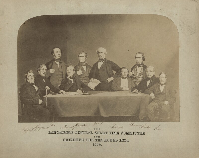 'The Lancashire Central Short Time Committee for Obtaining the Ten Hours Bill, 1850', by Unknown photographer, 1850 - NPG x27501 - © National Portrait Gallery, London