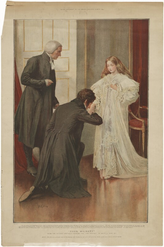 'Your Majesty' (William Howley; Francis Nathaniel Conyngham, 2nd Marquess Conyngham; Queen Victoria), published by The Graphic, after  Mary Louisa Gow, published 1895 - NPG D33592 - © National Portrait Gallery, London