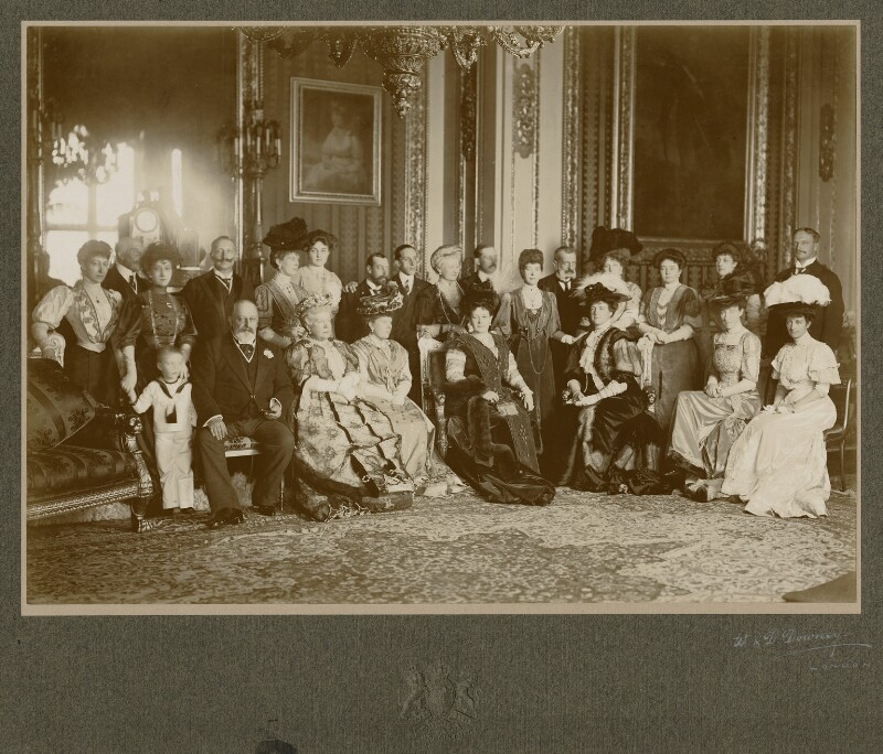 Royal group in the Crimson Drawing-Room at Windsor Castle, by Percy Lewis Pocock, for  W. & D. Downey, 17 November 1907 - NPG x1585 - © National Portrait Gallery, London