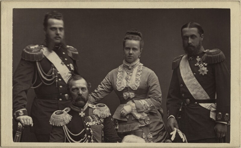 The Duchess of Edinburgh with her husband, father and brother, by W. & D. Downey, May 1874 - NPG x127201 - © National Portrait Gallery, London