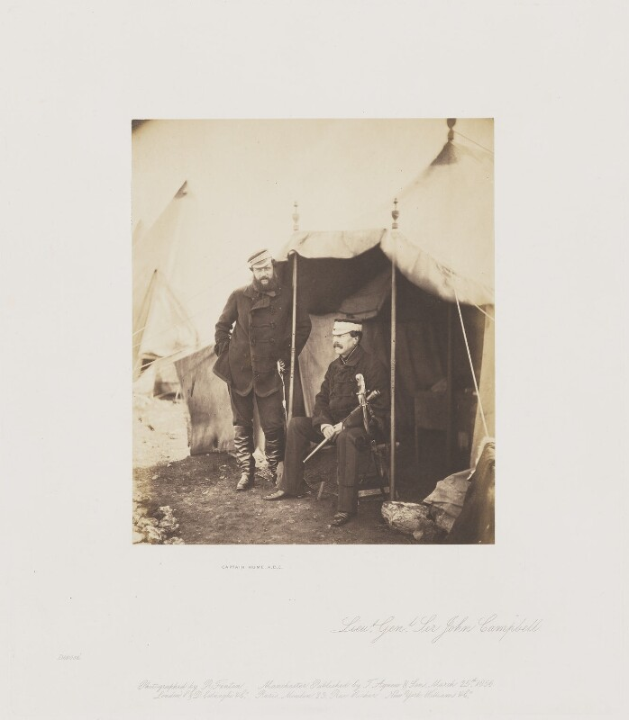 Captain Hume; Sir John Campbell Bt, by Roger Fenton, 1855 - NPG Ax24906 - © National Portrait Gallery, London