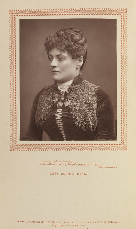 Sophie Eyre (née Ryan), by Herbert Rose Barraud, published by  Carson & Comerford, published 1 May 1887 - NPG Ax9293 - © National Portrait Gallery, London