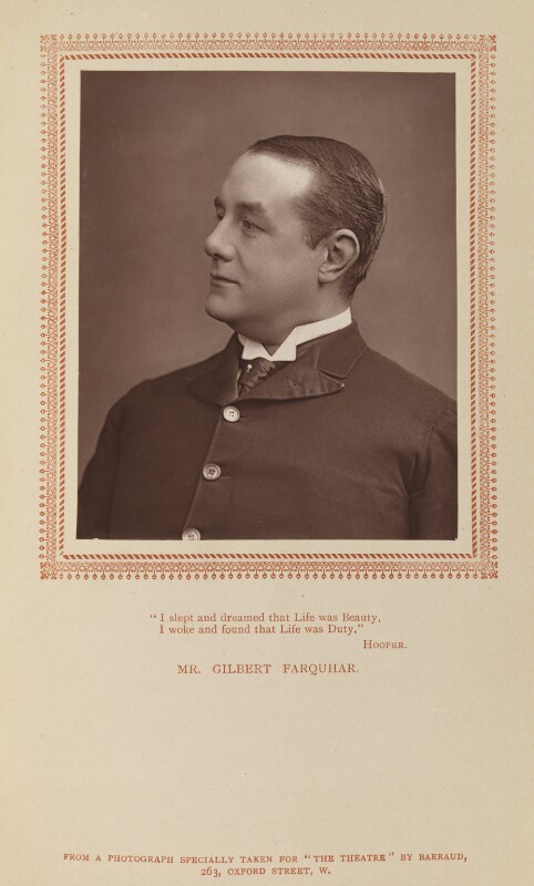 Gilbert Farquhar, by Herbert Rose Barraud, published by  Carson & Comerford, published 1 May 1887 - NPG Ax9294 - © National Portrait Gallery, London