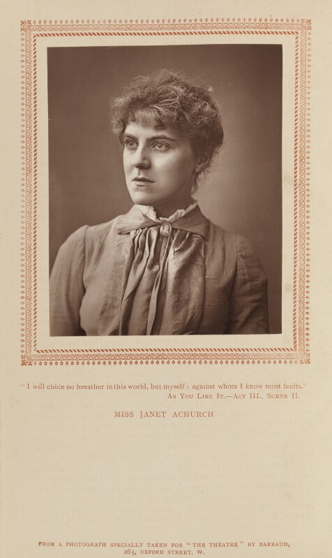 Janet Achurch, by Herbert Rose Barraud, published by  Carson & Comerford, published 1 October 1887 - NPG Ax9303 - © National Portrait Gallery, London