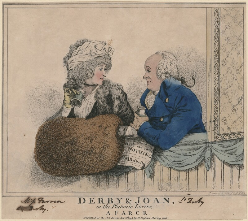 'Derby & Joan or the platonic lovers, a farce' (Elizabeth, Countess of Derby; Edward Smith Stanley, 12th Earl of Derby), by and published by Robert Dighton, published 6 November 1795 - NPG D9306 - © National Portrait Gallery, London