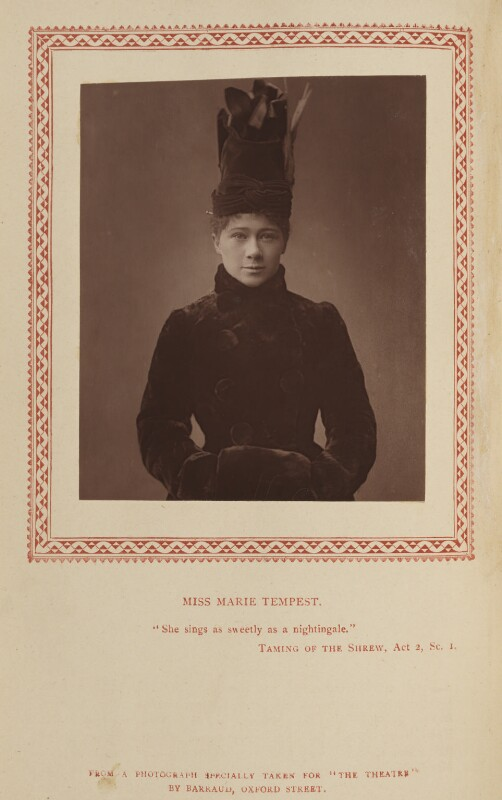 Marie Tempest, by Herbert Rose Barraud, published by  Strand Publishing Company, published 2 July 1888 - NPG Ax9323 - © National Portrait Gallery, London