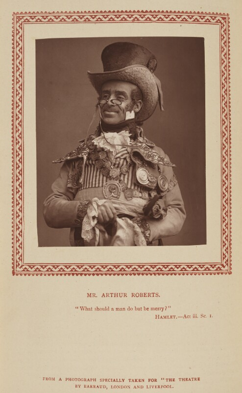 Arthur Roberts as Polydore Poupart in 'The Old Guard', by Herbert Rose Barraud, published by  Strand Publishing Company, published 1 October 1888 - NPG Ax9329 - © National Portrait Gallery, London
