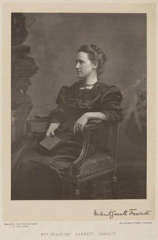Dame Millicent Garrett Fawcett (née Garrett), by Walery, published by  Sampson Low & Co, published September 1889 - NPG x9121 - © National Portrait Gallery, London