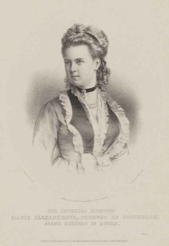 Marie Alexandrovna, Duchess of Edinburgh, by T. Rimanoczy, printed by  M & N Hanhart, published by  John Mitchell, after  Charles Bergamasco, published 23 January 1874 - NPG D33783 - © National Portrait Gallery, London