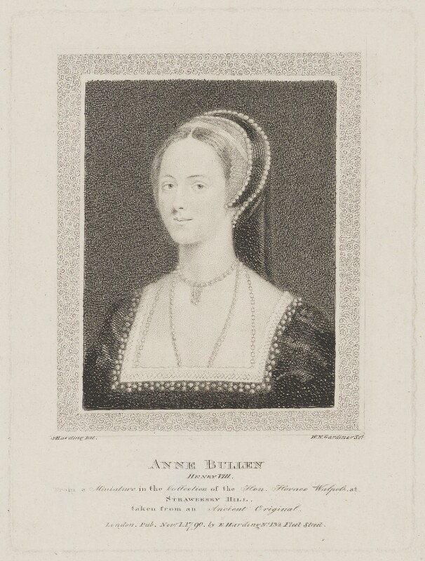 Anne Boleyn, by William Nelson Gardiner, published by  Edward Harding, after  Silvester Harding, after  Unknown artist, published 1790 - NPG D33817 - © National Portrait Gallery, London