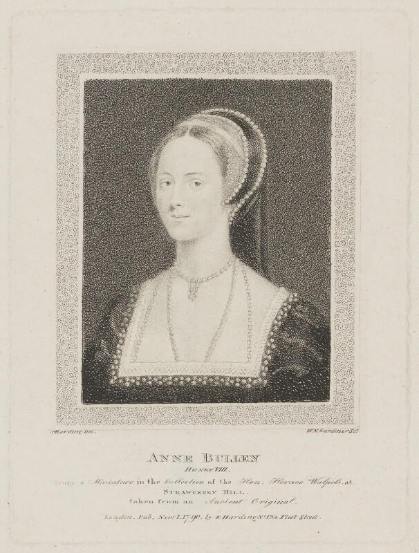 Anne Boleyn, by William Nelson Gardiner, published by  Edward Harding, after  Silvester Harding, after  Unknown artist, published 1790 - NPG D33817 - © National Portrait Gallery, London