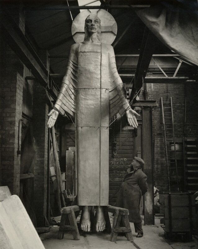 Jacob Epstein with his 'Christ in Majesty', by Geoffrey Ireland, circa 1955 - NPG x29399 - © Geoffrey Ireland / National Portrait Gallery, London
