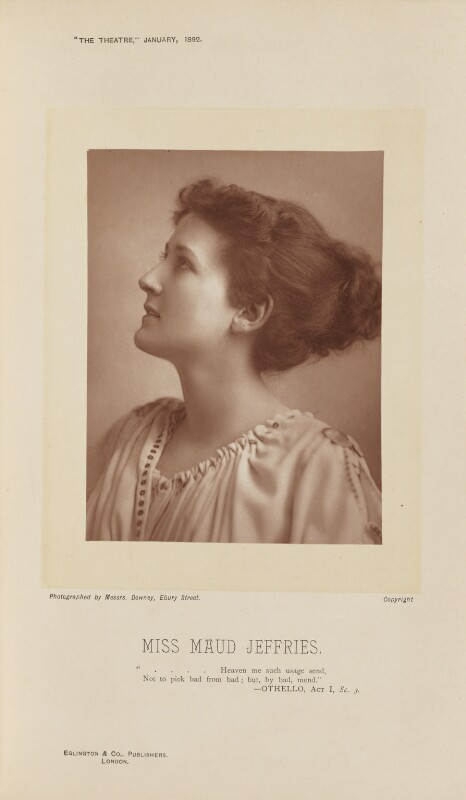 Maud Jeffries, by W. & D. Downey, published by  Eglington & Co, published 1 January 1892 - NPG Ax28824 - © National Portrait Gallery, London