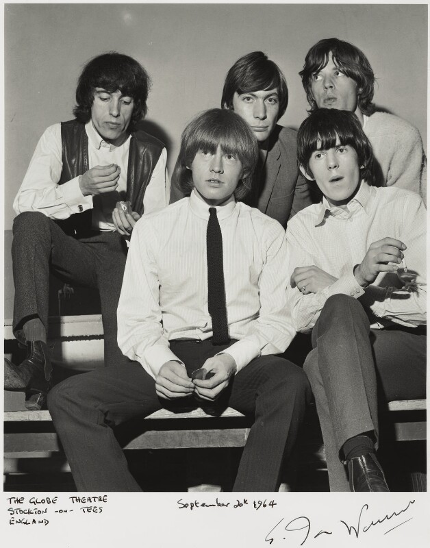 The Rolling Stones (Bill Wyman; Brian Jones; Charlie Watts; Keith Richards; Mick Jagger), by Ian Wright, 20 September 1964 - NPG x132219 - © Ian Wright / National Portrait Gallery, London