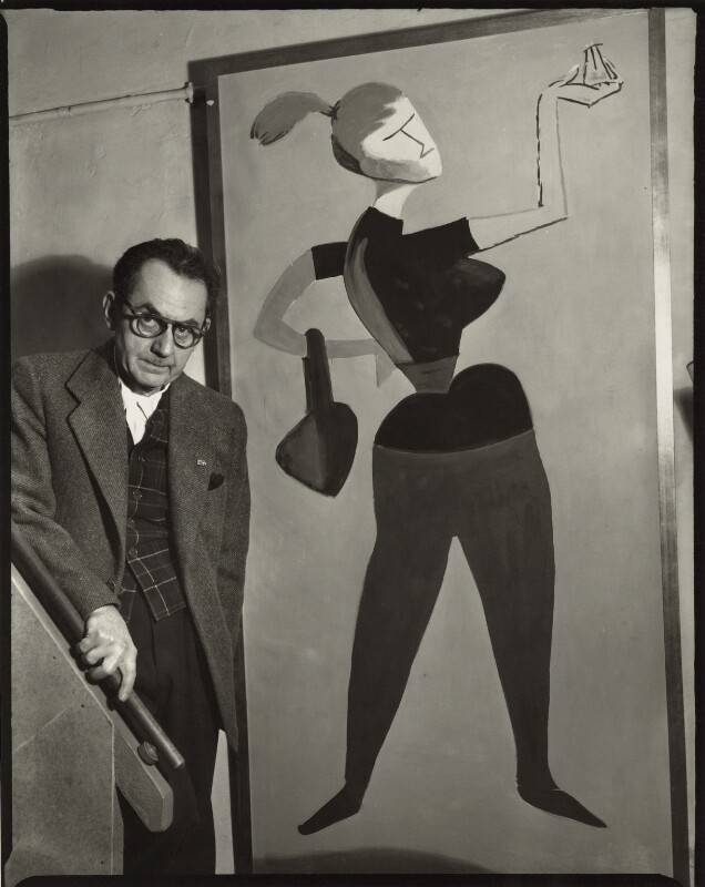 Man Ray with his painting 'Mademoiselle H', by Ida Kar, 30 March 1954 - NPG x132224 - © National Portrait Gallery, London