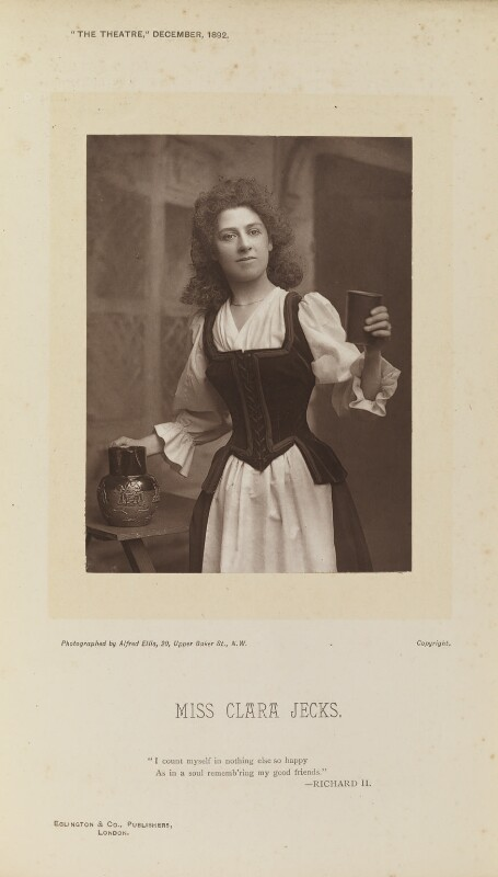 Clara Jecks, by Alfred Ellis, published by  Eglington & Co, published 1 December 1892 - NPG Ax28844 - © National Portrait Gallery, London
