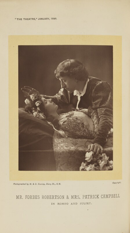Beatrice Stella Campbell as Juliet; Sir Johnston Forbes-Robertson as Romeo in 'Romeo and Juliet', by W. & D. Downey, 1895, published 1 January 1896 - NPG Ax28882 - © National Portrait Gallery, London