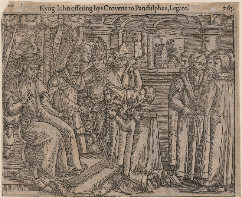 'Kyng John offering hys Crowne to Pandulphus, Legate', after Unknown artist, published 1563 or after - NPG D33888 - © National Portrait Gallery, London