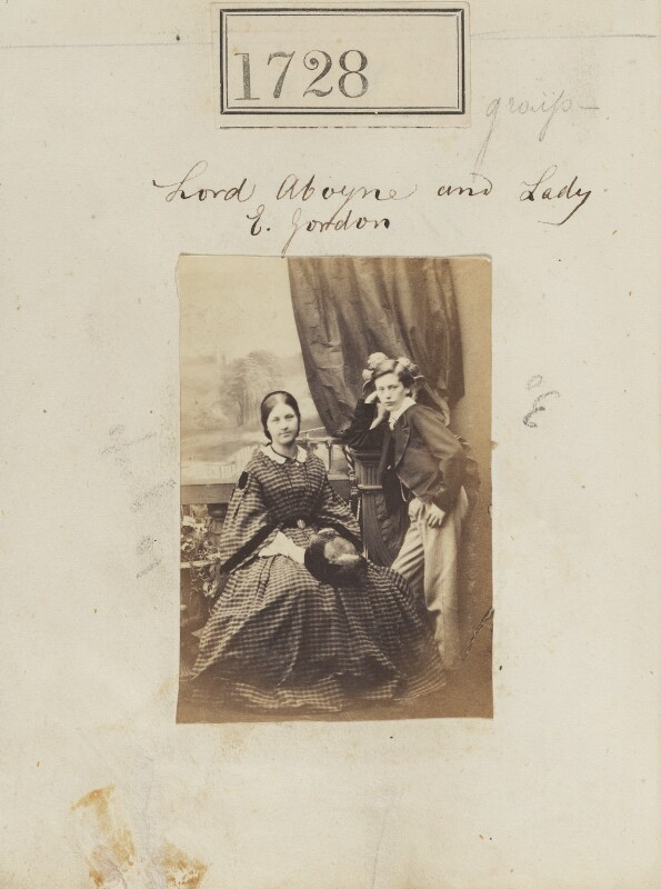 Evelyn Elizabeth (née Gordon), Countess of Ancaster; Charles Gordon, 11th Marquess of Huntly, by Camille Silvy, 5 December 1860 - NPG Ax51119 - © National Portrait Gallery, London