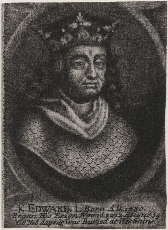 King Edward I, by John Carwitham, after  Unknown artist, circa 1723-1741 - NPG D33889 - © National Portrait Gallery, London